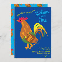 Cute Chicken Rooster Kids 1st Birthday Party Invitation