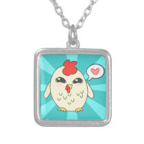 Cute Chicken Silver Plated Necklace