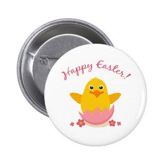 Cute chicken sitting in a broken eggshell button