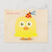 Cute chicken with party hat postcard