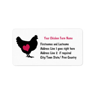 Cute Chicken with Pink Heart Address Label