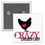 Cute Chicken with Pink Heart Pinback Button