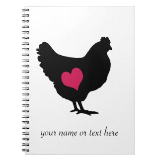 Cute Chicken with Pink Heart Spiral Notebook