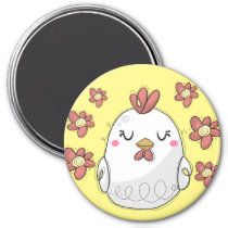 Cute Chicken with red flowers kitchen Magnet