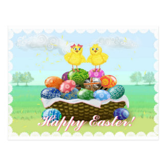 Cute Chickens Happy Easter Postcard
