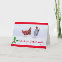 Cute Chickens wearing hat and scarf Christmas Card