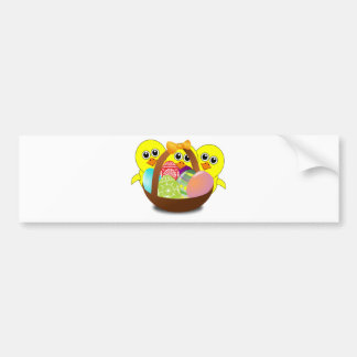 Cute Chicks Cartoon with Easter Eggs in a Basket Bumper Sticker