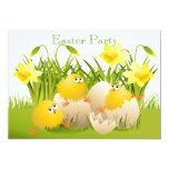 Cute Chicks, Eggs & Daffodils Easter Party 5x7 Paper Invitation Card