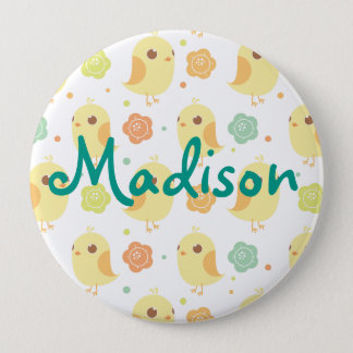 Cute Chicks & Flowers Pattern Button