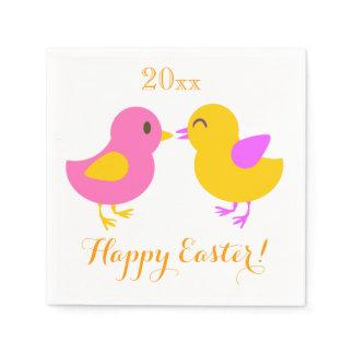 Cute Chicks Happy Easter Custom Year V02 Napkin