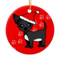 Cute Chihuahua Cartoon Santa Hat - Black Christmas Ornaments
