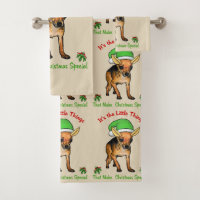 Cute Chihuahua Christmas Bath Towel Set
