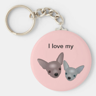 Cute Chihuahua Faces Basic Round Button Keychain