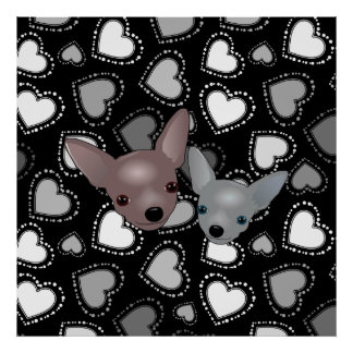 Cute Chihuahua Faces Poster