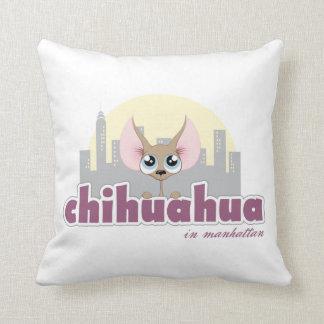 Cute Chihuahua in Manhattan Dog Throw Pillow