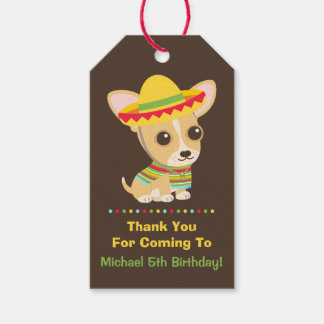 Cute Chihuahua Mexican Kids Fiesta Party Gift Tags