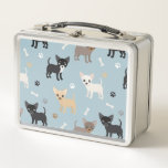 "Cute Chihuahua Pattern Blue Metal Lunch Box<br><div class=""desc"">Cute Chihuahuas Pattern,   Dog Bones and Paw-prints on a Blue Background. Tan,  Fawn,  Black,  Black and White Chihuahuas.</div>"