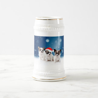 Cute Chihuahua Puppies with Santa Hat Christmas Beer Stein