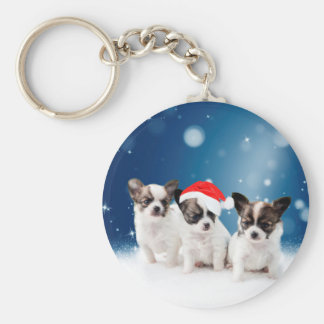 Cute Chihuahua Puppies with Santa Hat Christmas Keychain