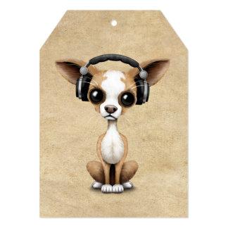 Cute Chihuahua Puppy Dj Wearing Headphones Card