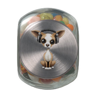 Cute Chihuahua Puppy Dj Wearing Headphones Jelly Belly Candy Jar