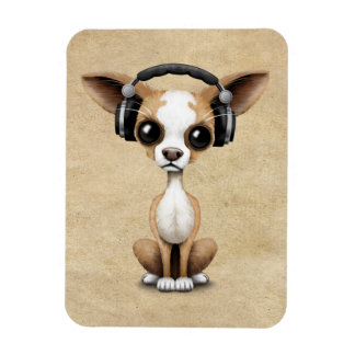 Cute Chihuahua Puppy Dj Wearing Headphones Magnet