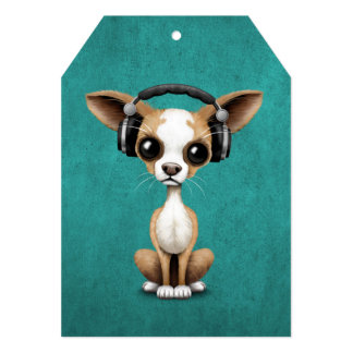 Cute Chihuahua Puppy Dj Wearing Headphones on Blue Card