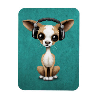 Cute Chihuahua Puppy Dj Wearing Headphones on Blue Magnet