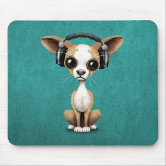 Cute Chihuahua Puppy Dj Wearing Headphones on Blue Mouse Pad