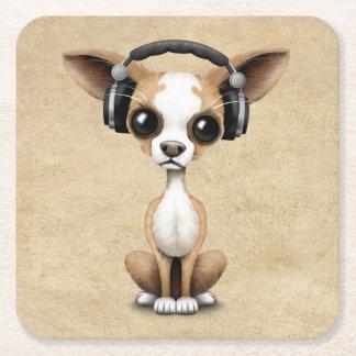 Cute Chihuahua Puppy Dj Wearing Headphones Square Paper Coaster