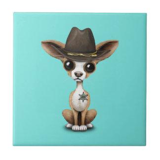 Cute Chihuahua Puppy Sheriff Ceramic Tile