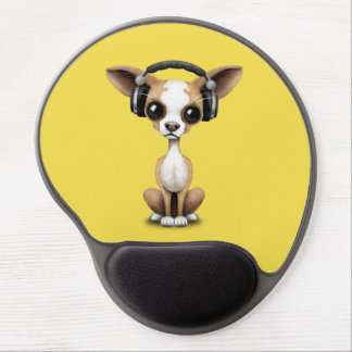 Cute Chihuahua Puppy Wearing Headphones Gel Mouse Pad