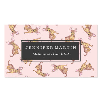 Cute Chihuahua Watercolor Painted Pink Brown Business Card