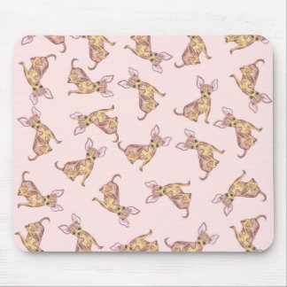 Cute Chihuahua Watercolor Painted Pink Brown Mouse Pad