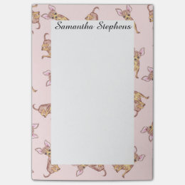 Cute Chihuahua Watercolor Painted Pink Brown Post-it Notes