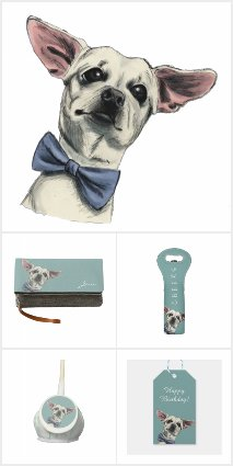Cute Chihuahua with Bow Tie Drawing