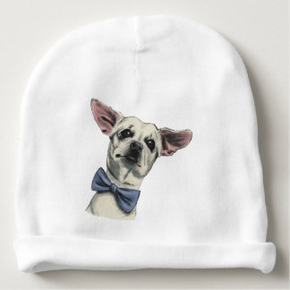 Cute Chihuahua with Bow Tie Drawing Baby Beanie