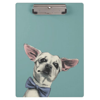 Cute Chihuahua with Bow Tie Drawing Clipboard