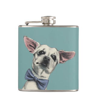 Cute Chihuahua with Bow Tie Drawing Flask