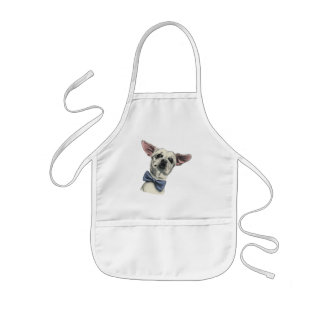 Cute Chihuahua with Bow Tie Drawing Kids' Apron