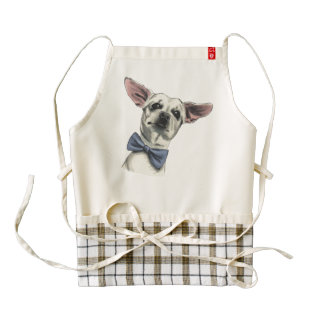 Cute Chihuahua with Bow Tie Drawing Zazzle HEART Apron
