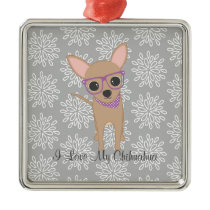 Cute Chihuahua with Purple Glasses Metal Ornament