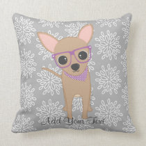 Cute Chihuahua with Purple Glasses Throw Pillow