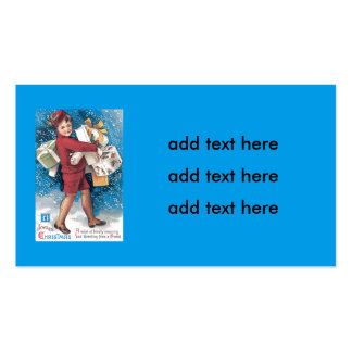 Cute Child Carrying Presents Holly Snow Double-Sided Standard Business Cards (Pack Of 100)