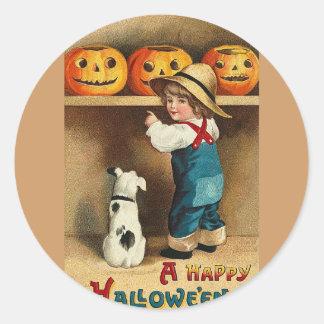 cute child, puppy, jackolanterns classic round sticker