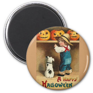 cute child, puppy, jackolanterns magnet