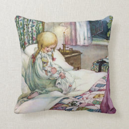 Cute Child with Her Doll at Bedtime Throw Pillow