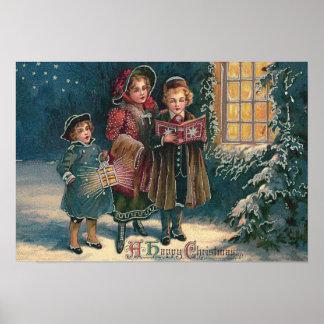 Cute Children Carolers Caroling Poster