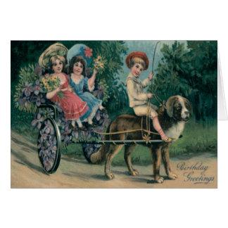Cute Children Dog Cart Forget-Me-Not Card