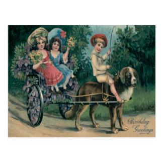 Cute Children Dog Cart Forget-Me-Not Postcard